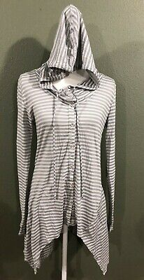 cf5646cce000be Soft Surroundings Button Down Striped Tunic Blouse With Hoodie White  Gray-Sz S