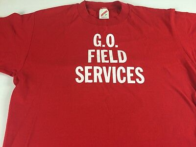 GO Field Services T-Shirt VTG Adult SZ M/L Red Jerzees USA Made Mens Womens