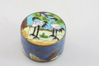 CHINESE Early 20th Century CLOISONNE SWAN MOTIF LIDDED SMALL BOX