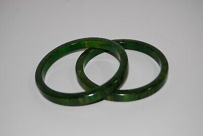 Vintage Pair Antique Spinach Green Marbled Bakelite Bangle Bracelets RELISTED