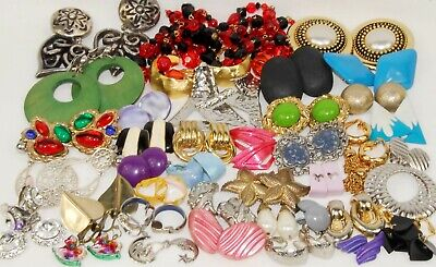 Vintage 80's Clip on Earrings Lot BIG Funky Colorful Bold STATEMENT 37 Pairs