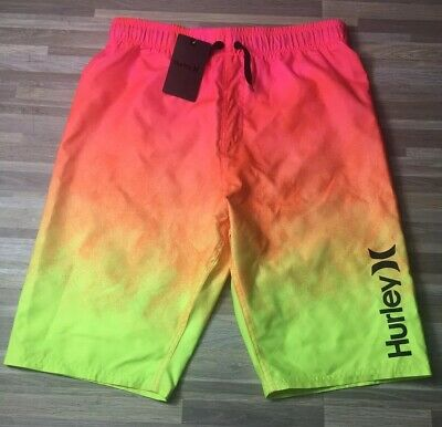 597fe29fdb $38 Hurley Icon Gradient Boy's Size LARGE Hyper Pink Swim Trunks Boardshorts  NWT