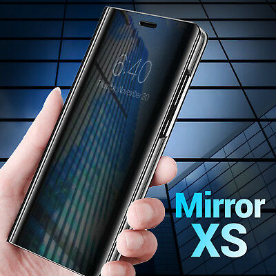 For Apple iPhone XS Max XR X Smart Mirror View Flip Case Stand Cover
