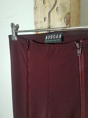 Vintage 90s Maroon Red Zip Up High Waisted Flares Morgan De Toi