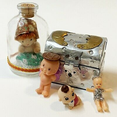 Whimsical Lot x 5:  Miniature Treasure Chest Trinket Box & 4 Little Mini Dolls