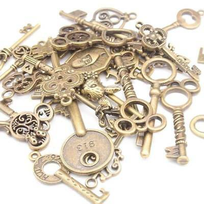 100g Old Look Bronze Skeleton Keys Fancy Heart Bow Necklace Pendant Charms DIY