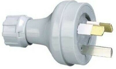 2x Clipsal PLUG TOPS 10A 230V 3-Pin Straight Unassembled, Insulated GREY