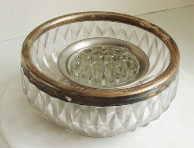 Large glass fruit bowl with silver plated rim plus a Falstaff Rose Bowl