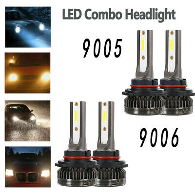 4PCS 9005 9006 LED Combo Headlight Kit Bulbs 6000K White Hi-Lo Beam