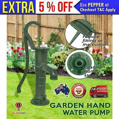 Cast Iron Garden Hand Operated Water Pump w/ Antique Look Outdoor Ornament Green