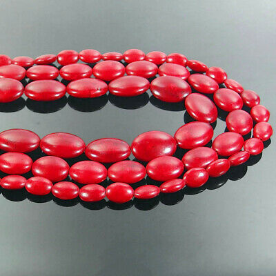 "Red Turquoise Oval Gemstone Spacer Beads 16"" Jewelry Making Design DIY"