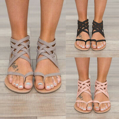 Women Romen Flat Gladiator Sandals Ladies Summer Holiday Beach Ankle Strap Shoes