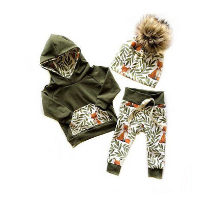 UK 2PCS Newborn Kids Baby Girl Winter Clothes Floral Fox Tops+Long Pants Outfits