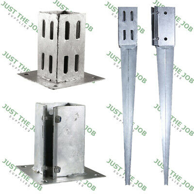 Galvanised Fence Post SPIKES & Bolt Down Shoes Holders ~ 50/75/100mm HDG Garden