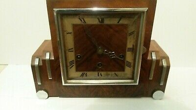 1930s art deco Walnut mantel clock Westminster chime