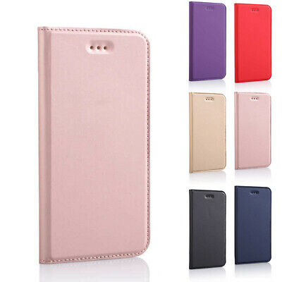 For Samsung Galaxy Apple iPhone Slim Magnetic Wallet Case Flip Leather Cover
