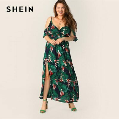 2a936c14d18ff SHEIN FLOUNCE DEEP Green Floral Cold Shoulder Wrap Split Maxi Dress ...