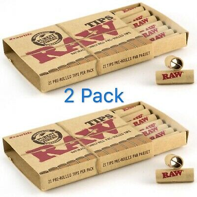 2 Pack Raw Natural Unrefined Filter Pre Rolled Tips 21 Per Pack Smoking Tobacco