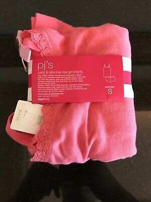 Nwt The Gap Body Women's Sleep Set Tank Top/Camisole & Low Rise Shorts Pink Sz S