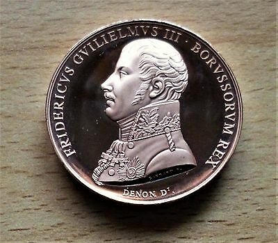 The Battle Of Waterloo Solid Bronze Medal- King Frederick William 111 Of Prussia