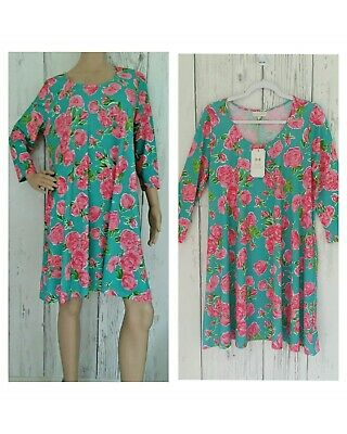 a4df790fe98 SIMPLY SOUTHERN Womens Stretch Blue Teal Pink Roses Dress Pockets Size  Medium