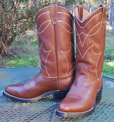44ae30dc36a SHEPLERS BROWN LEATHER WESTERN BOOTS Cowboy Ranch Work Roper Toe Womens 9B-  EUC