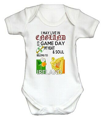 IRISH RUGBY BABY GROW I May Live In England But on Match Day.... Ireland