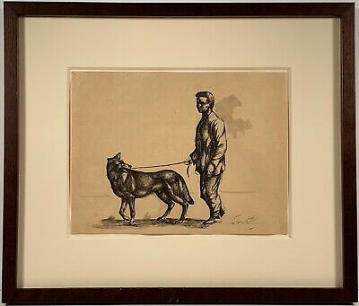 Listed Artist Leon Kelly (1901-1982) Signed Ink Painting Self Portrait With Dog