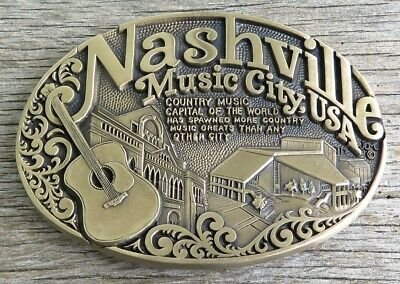 Nashville Music City USA Tennessee Country Music Brass Vintage Belt Buckle