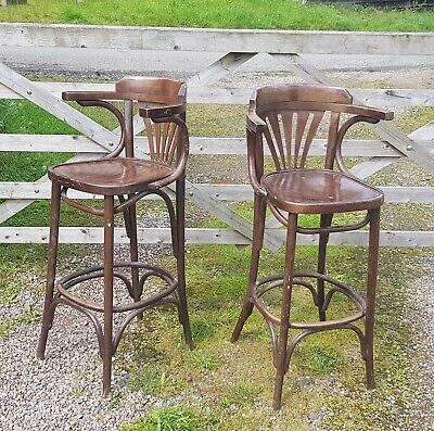 Pair of Vintage Bentwood 'Thonet' Cafe Chairs / Bar Stools. nr