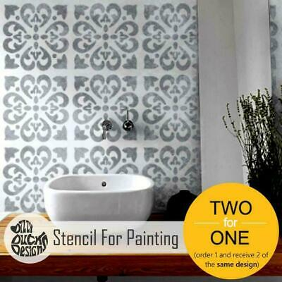 TANGIER Mediterranean Moroccan Tile - Furniture Wall Floor Stencil for Painting