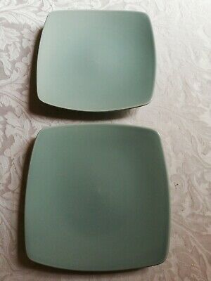 Marks And Spencer Andante Square Salad Plates X 2 - Light Green