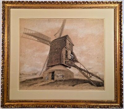 Listed Artist Georges Michel (1763-1843) Chalk Painting w/ S.M. Vose Provenance