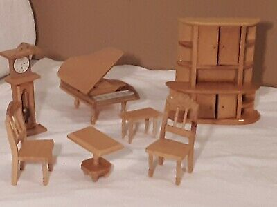 Vintage Miniature Doll House Wood Furniture Set 7 Pieces New Never Used