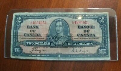 1937 Bank of Canada $2 Two Dollar Bank Note Coyne /Towers $2.00 Bill #L/R4964951