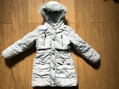 Tu Grey Padded Warm Hooded Coat Age 5-6 Years Good Condition Lovely Soft Lining