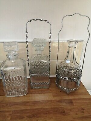 3 glass decanters for brandy/whiskey/sherry etc