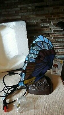 Vintage Quoizel Tiffany Style Stained Glass Butterfly Table Lamp Bronze Base
