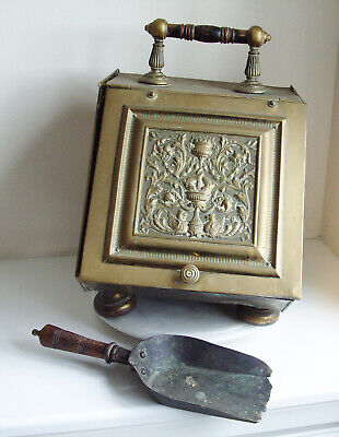 Antique Vintage Coal Scuttle Brass Embossed Box Bucket with shovel