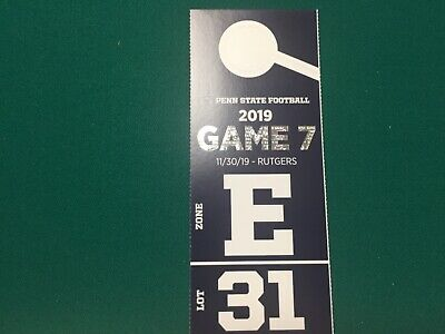 Penn State VIP Reserved Dedicated Parking Pass vs Rutgers11/30/19 Lot 31 Club