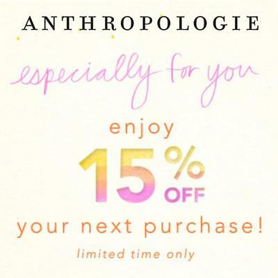15% Off ANTHROPOLOGIE Entire Purchase Promo Coupon Code Ex 6/30 Online/In Store