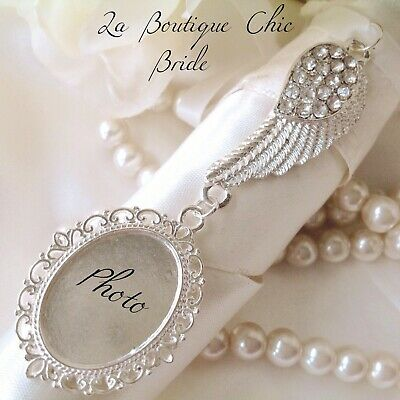 Lovely Silver crystal angel wing bridal bouquet photo frame memory charm wedding