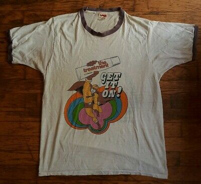 VINTAGE 70s T-Shirt Thin Ringer Get It On Treatment Thompson Car Wax Plymouth XL