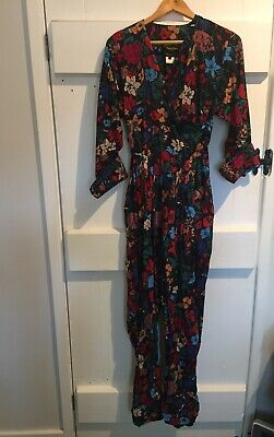 Droopy And Brown By Angela Holmes Blck And Floral Jumpsuit Vintage Retro Rare
