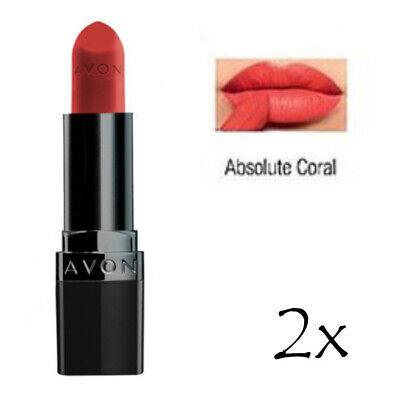 *AVON* 2 X True Colour Perfectly Matte Lipstick Shade -ABSOLUTE CORAL  RRP £16