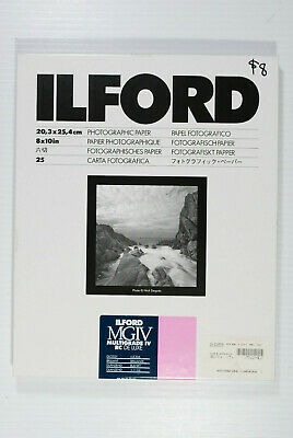 "Unopened Ilford Multigrade IV RC Deluxe  VC Black & White- 8x10"" - 25 sheets"