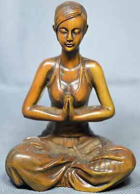 Collectable Old Handwork Boxwood Carve Meditation Beauty Belle Precious Statue