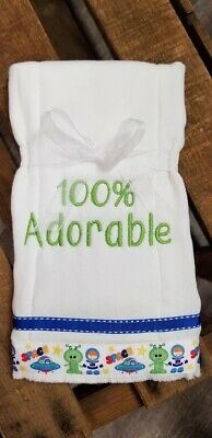 Set of  2 Embroidered Baby Burp Cloths Baby Boy Monogrammed Gift Shower Present