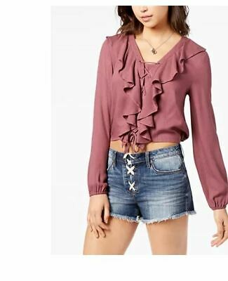 American Rag Junior's Lace-Up Ruffle Bright Mauve Top Size X-Large
