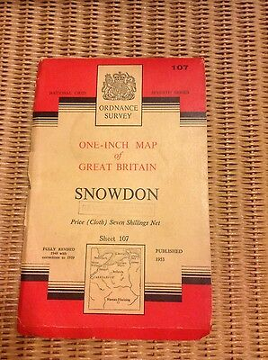 Vintage Ordnance Survey OS map - 1950s - sheet 107 Snowdon